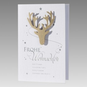 Mehrsprachige Weihnachtskarte mit Hirschgeweih