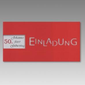Rote Einladungskarte zum 50. Geburtstag mit Fensterausstanzung