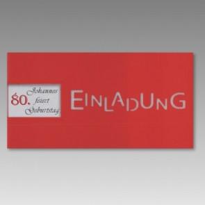 Rote Einladungskarte zum 80. Geburtstag mit Fensterausstanzung