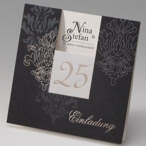 Romantische Einladungskarte Silberhochzeit mit einer 25
