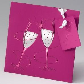 Farbenprächtige Einladung Silberhochzeit in Pink