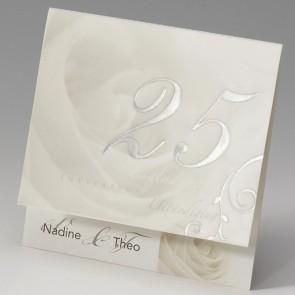 Einladungskarte Silberhochzeit mit 25 und Rosen