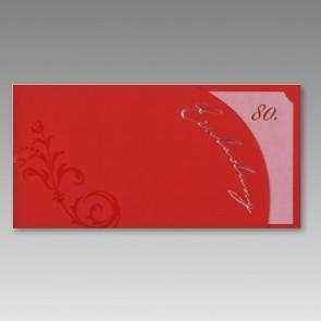 Einladungskarte zum 80. Geburtstag in rot