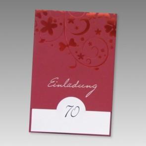 Einladung 70. Geburtstag mit rotem Ornament zum günsti