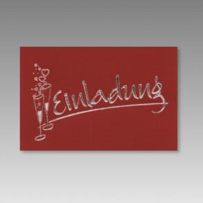 Rote Einladungskarte Silberhochzeit mit Sektgläsern