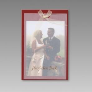 Rote Foto-Dankkarte zur Hochzeit ohne Text