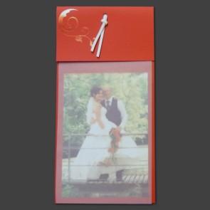 Dankeskarte Hochzeit: rot mit Glanzornament