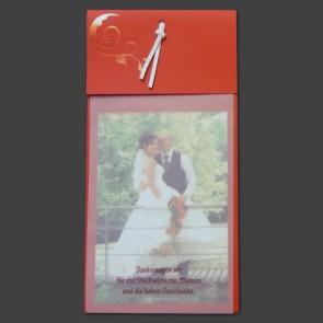 Dankeskarte Hochzeit: rot mit Text und Glanzornament