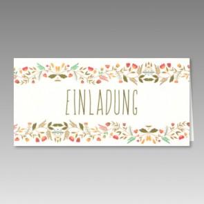 Bunte Einladungskarte Kommunion mit Blumen