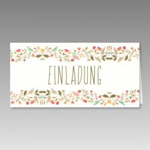 Bunte Einladungskarte Konfirmation mit Blumen