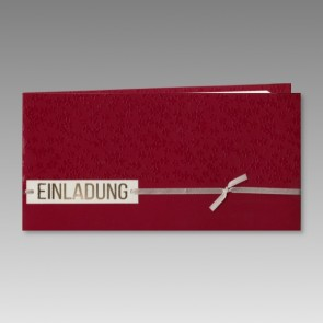 Einladung Konfirmation in elegantem Rot