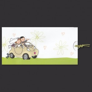 Witzige Einladungskarte zur Hochzeit mit Cabrio