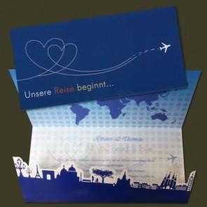 Besondere Einladungskarte als Flugticket