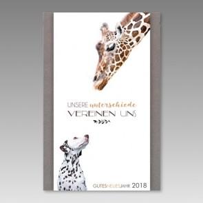 Pfiffige Neujahrskarte mit Giraffe und Dalmatiner