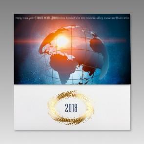 Internationale Neujahrskarte mit Weltkugel