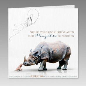 Außergewöhnliche Neujahrskarte mit Nashorn und Hund