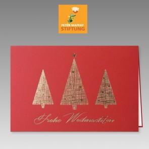 Moderne Spendenkarte zu Weihnachten in rot, Peter Maffay Stiftung