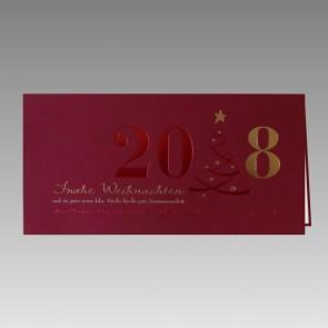 Geschmackvolle Grußkarte in rot und gold zu Weihnachten und Neujahr