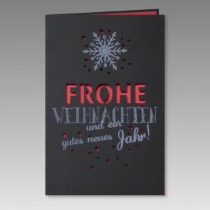 Moderne Weihnachtskarte in Schwarz