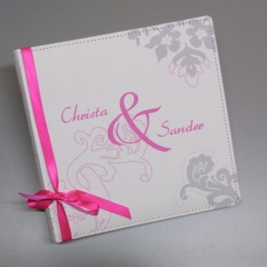 Gästebuch zur Hochzeit mit Band in Pink