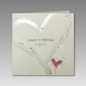 günstige Hochzeitskarte mit Herzen
