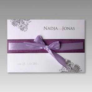 Einladungskarte Hochzeit inkl. fliederfarbener Schleife