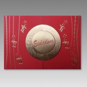 Einladungskarte rot mit Gold