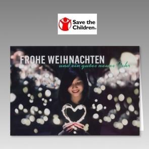 Save the Children Spendenkarte mit Lichterherz