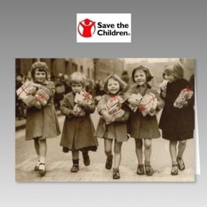 Weihnachtskarte mit Spende für Save the Children in Sepia
