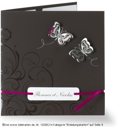 Einladung Zur Hochzeit Mit Schönen Schmetterlingen