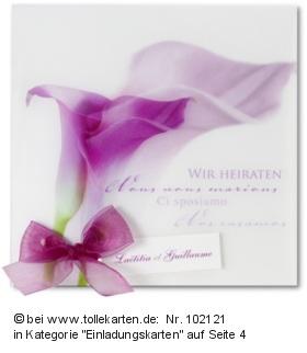 Hochzeitskarte mit Calla  Hochzeitskarten