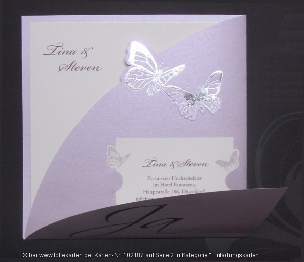 Elegante Einladung mit interessanter Form – Einladungskarten