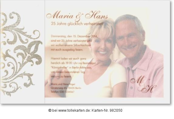 Moderne Einladungskarte zur Silberhochzeit mit Foto
