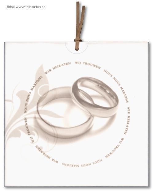 Einladung Zur Hochzeit Mit Aufgedruckten Eheringen: