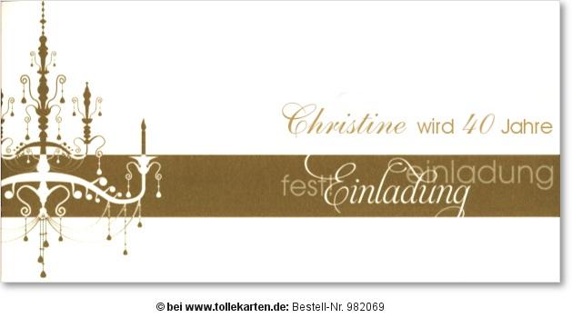 Einladungskarte 40. Geburtstag: