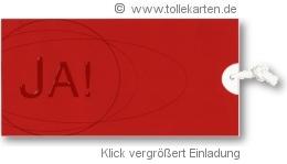 Einladungskarte in Rot, der Farbe der Liebe: