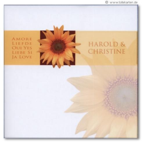 hochzeitskarte mit sonnenblume – hochzeitskarten, Einladungsentwurf