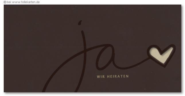 Außergewöhnlich Einladungskarte Zur Hochzeit In Braun Mit Ja, Wir Heiraten: