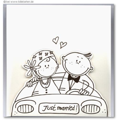 Comic Brautpaar Im Auto Einladungskarten