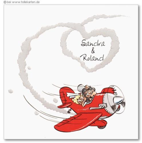 Einladung Zur Hochzeit Mit Brautpaar Im Roten Sportflugzeug: