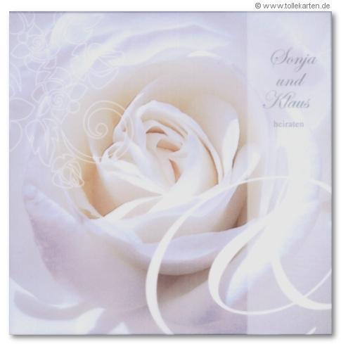 Hochzeitseinladung Mit Weißer Rose
