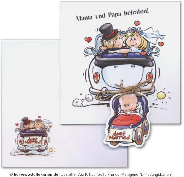 Comic Brautpaar Mit Baby Im Cabrio: