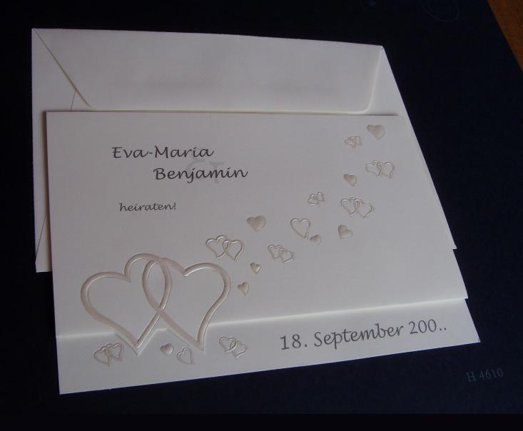 Einladungskarte Zur Hochzeit Mit Perlmutt Herzen: