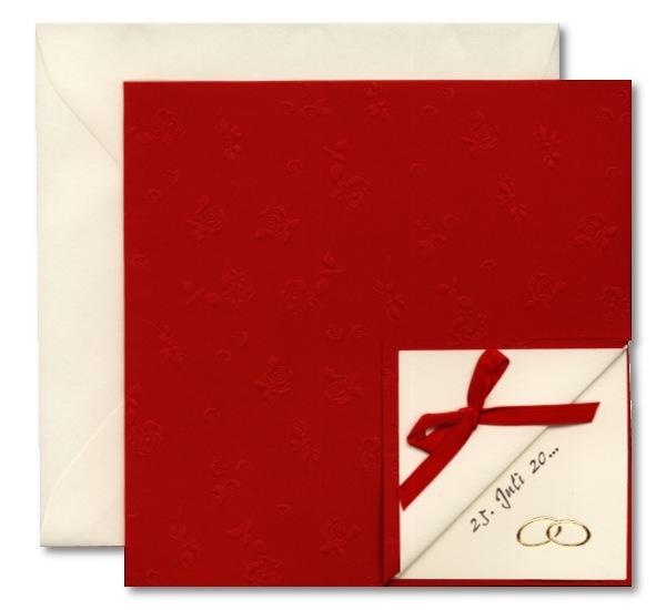 Einladungskarte Zur Hochzeit Mit Geprägten Rosen: