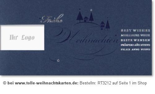Blaue weihnachtskarte f r firmen logo weihnachtskarten for Weihnachtskarten mit firmenlogo