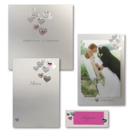 """Hochzeitskarten Set """"Glitzerherz"""""""