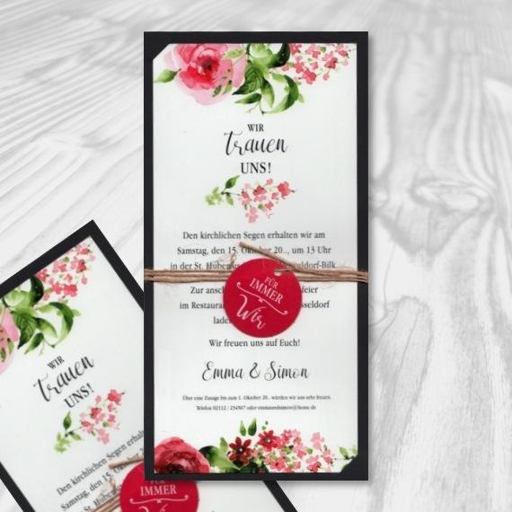 Ausgefallene Hochzeitseinladung mit Blumenmotiven