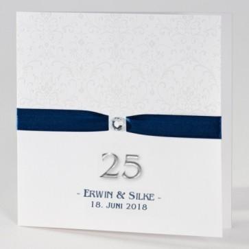 Einladungskarte zur Silberhochzeit mit elegantem blauem Band