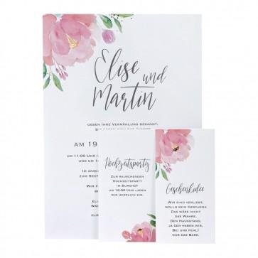 Einladungskarte mit zwei Zusatzkarten