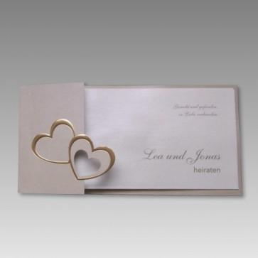 Hochzeitskarte goldenes Doppelherz 16315